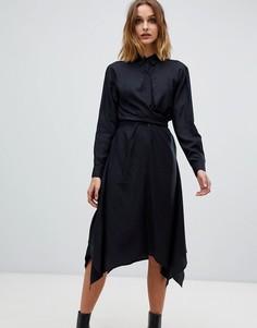 Платье-рубашка с запахом AllSaints - Черный