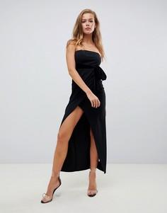 Черное бархатное платье миди с запахом Missguided - Черный