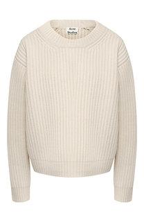 Вязаный шерстяной пуловер со спущенным рукавом Acne Studios