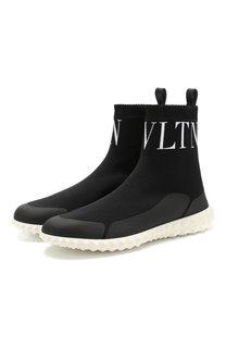Высокие текстильные кроссовки Valentino Garavani VLTN на шнуровке Valentino