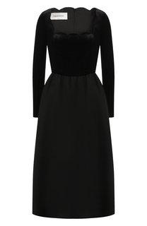 Приталенное платье из смеси шерсти и шелка Valentino