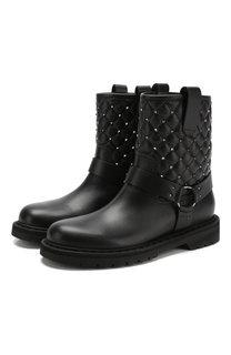 Высокие кожаные ботинки Valentino Garavani Rockstud Spike Valentino