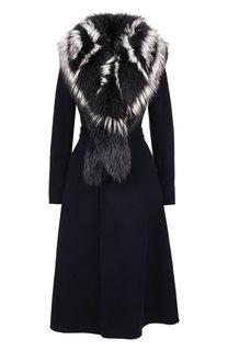 Шерстяное пальто с меховым воротником Yves Salomon
