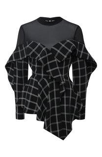 Блуза асимметричного кроя с воротником-стойкой self-portrait