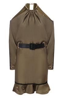 Мини-платье с поясом и открытыми плечами self-portrait