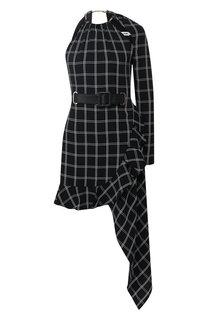 Мини-платье асимметричного кроя с поясом self-portrait