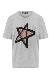 Хлопковая футболка с декоративной отделкой Markus Lupfer