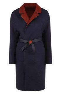 Кашемировое пальто с поясом и накладными карманами Loro Piana