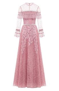 Кружевное платье-макси с оборками Zuhair Murad