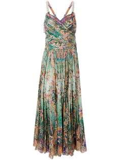 плиссированное платье с цветочным принтом Etro