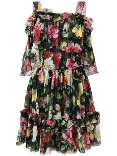 платье с розами и оборками Dolce & Gabbana