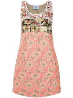 платье с принтом и отделкой Prada