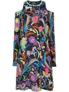 платье с узором и открытыми плечами Etro