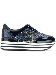кроссовки на платформе со шнуровкой Baldinini