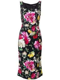 облегающее платье с цветочным принтом Dolce & Gabbana
