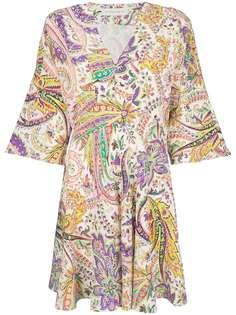 расклешенное платье с миксом принтом Etro