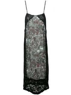 платье шифт с кружевной вставкой и цветочным принтом I'M Isola Marras