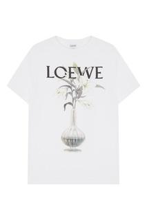 Белая хлопковая футболка Loewe