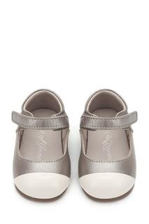 Серебристые кожаные туфли на липучке Age of Innocence
