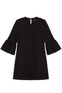 Черное платье с воланами Adolfo Dominguez