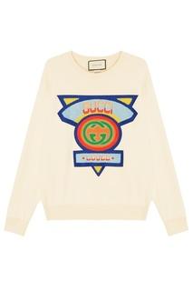Хлопковый свитшот с цветной отделкой Gucci