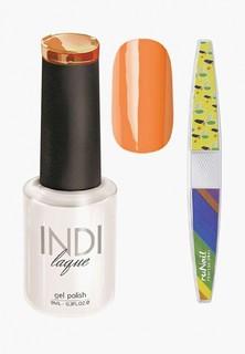 Набор для ухода за ногтями Runail Professional пилка для ногтей и Гель-лак INDI laque Тон №3073, 9 мл