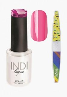 Набор для ухода за ногтями Runail Professional трафарет и Гель-лак INDI laque Тон №3064, 9 мл