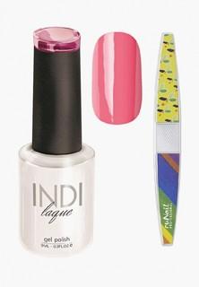 Набор для ухода за ногтями Runail Professional пилка для ногтей и Гель-лак INDI laque Тон №3070, 9 мл