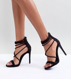 Бархатные босоножки на каблуке Steve Madden - Черный