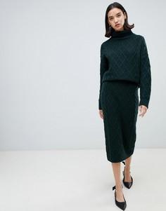 Трикотажная юбка-карандаш Selected - Зеленый