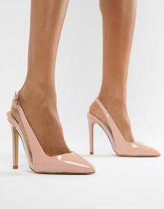 Туфли-лодочки с ремешком через пятку и прозрачной отделкой Lost Ink Tanya - Розовый