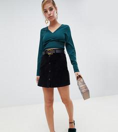 Вельветовая юбка на пуговицах Vero Moda Petite - Черный