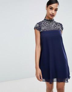 Свободное платье с декоративной отделкой Lipsy - Темно-синий