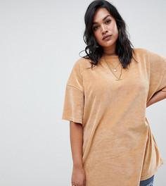 Светло-коричневая oversize-футболка из велюра Missguided Plus - Бежевый