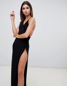 Черное платье макси на бретельках с высоким разрезом Club L - Черный