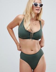 Трусы бикини цвета хаки с завышенной талией и шнуровкой Pour Moi - Зеленый