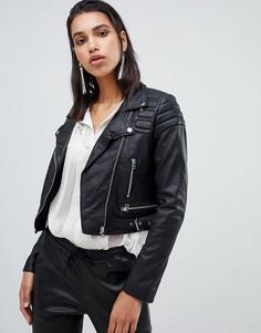 Укороченная байкерская куртка из кожи Goosecraft - Черный