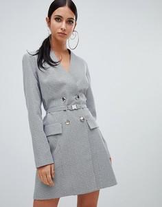 Серое двубортное платье-блейзер в клетку Missguided - Серый