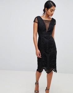 Черное кружевное платье-футляр с V-образным вырезом Chi Chi London - Черный