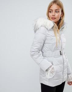 Длинная серая дутая куртка с отделкой искусственным мехом Miss Selfridge - Мульти