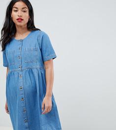 Свободное джинсовое платье ASOS DESIGN Maternity - Синий