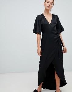 Платье макси с запахом и рукавами клеш Moves By Minimum - Черный