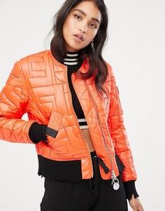Укороченная дутая куртка с логотипом Diesel - Оранжевый