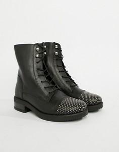 Кожаные ботильоны на шнуровке Aldo - Черный