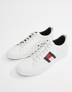 Белые кожаные кроссовки с флагом Tommy Hilfiger - Белый