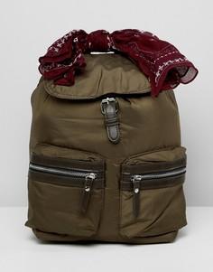 Нейлоновый рюкзак цвета хаки Pull&Bear - Зеленый Pull&;Bear