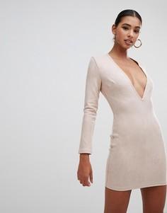 Замшевое платье мини In The Style Tammy Hembrow - Бежевый