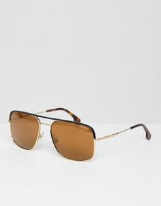 Солнцезащитные очки-авиаторы в золотистой оправе с черепаховой отделкой Carrera - Золотой
