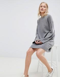 Вязаное платье мини из пушистой пряжи ASOS DESIGN - Серый