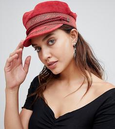 Красная кепка газетчика с вышивкой Brixton - Оранжевый